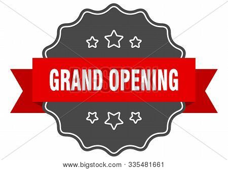 Grand Opening Red Label. Grand Opening Isolated Seal. Grand Opening
