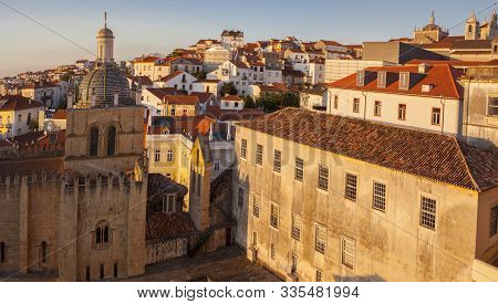 Coimbra Uptown At Sunset From University Viewpoint, Portugal
