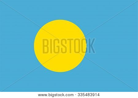 The Original Flag Of Palau,Vector Illustration The Color Of The Original,  Official Colors and Proportion Correctly, Isolate White Background Label .EPS10 poster