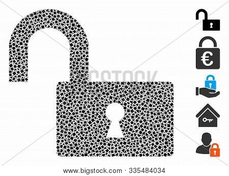 Open Lock Icon Mosaic Of Bumpy Elements In Various Sizes And Color Hues, Based On Open Lock Icon. Ve