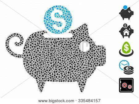 Piggy Bank Icon Composition Of Ragged Pieces In Variable Sizes And Color Tints, Based On Piggy Bank