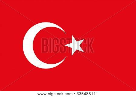 The Original Flag Of Turkey,vector Illustration The Color Of The Original, Official Colors And Propo