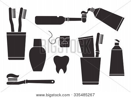 Toothpaste And Toothbrush. Oral Care And Hygiene, Dentistry And Tooth Cleaning. Black Silhouettes Is