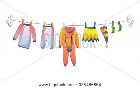 Various Items Of Baby Clothes On Rope Isolated Vector Illustration On White Background. Laundry Held
