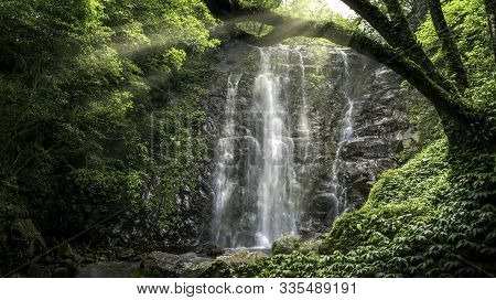 Fantastic Morning With A Natural Waterfall And Sun Light In Forest Of Taiwan.