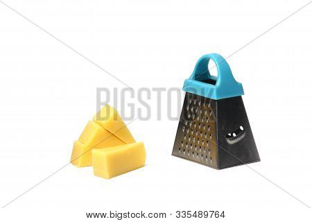 Edam Cheese And Fine Grater Isolated On White Background