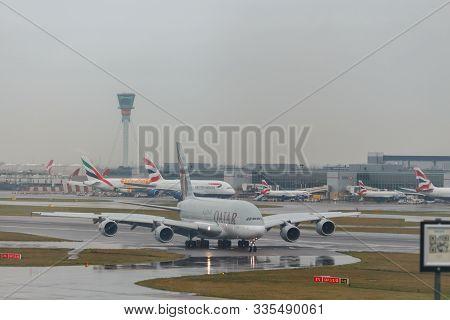 London, England - Circa 2019 : Qatar Airways Airbus A380 At Lhr Airport