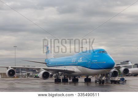 Amsterdam, Netherlands - Circa 2019 : Klm Royal Dutch Airlines Boeing 747 Phbfv At Schipol Airport