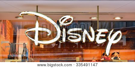 Venice, Italy - October 12, 2019: Sign Of Disney Store. Disney Is An American Diversified Multinatio