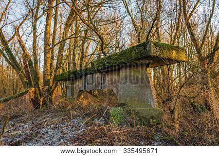 Unused Concrete Bridge Pillar Covered With Moss Iand Hidden In The Wild Dutch Nature.