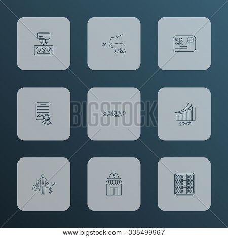 Economy Icons Line Style Set With Bear Market, Bullion, Cashback Card And Other Arithmetic Elements.
