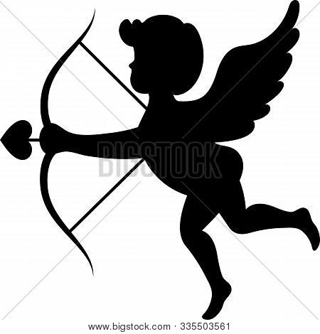 Cupid With Cupids Arrow In Black On A White Background. Valentines Day.