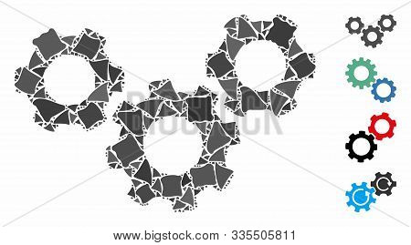 System Gears Icon Mosaic Of Trembly Parts In Variable Sizes And Color Tones, Based On System Gears I