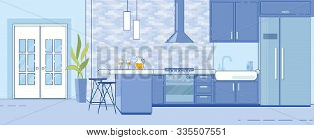 Spacious Home Kitchen Interior Design. Wall Tiling, Stove With Hood, Large Refrigerator For Big Fami