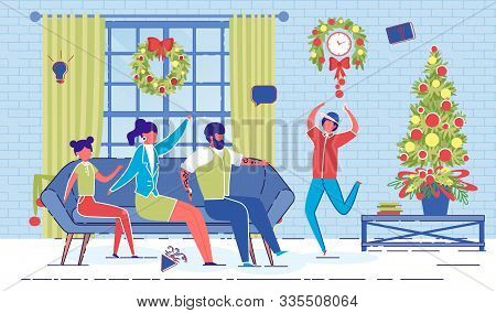 Cartoon Family Play Charades Game On Christmas Eve Vector Illustration. Happy Father Mother Children