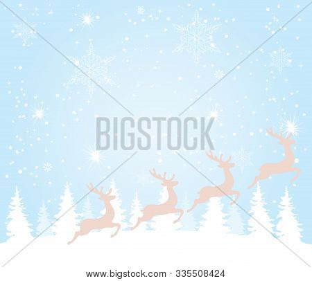 Vector Illustration Of Christmas Background With Trees, Snow And Reindeer.