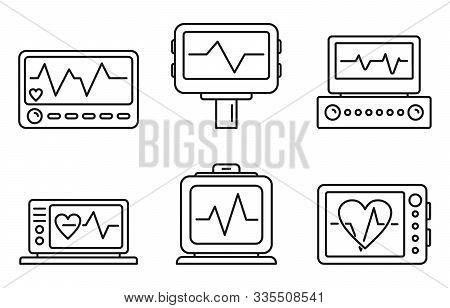 Medical Electrocardiogram Icons Set. Outline Set Of Medical Electrocardiogram Vector Icons For Web D