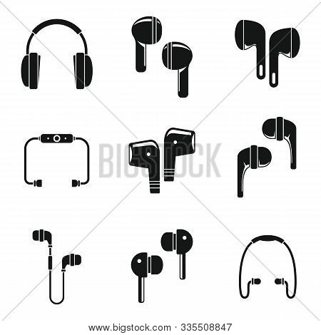 Modern Wireless Earbuds Icons Set. Simple Set Of Modern Wireless Earbuds Vector Icons For Web Design