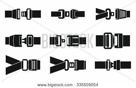 Safe Seatbelt Icons Set. Simple Set Of Safe Seatbelt Vector Icons For Web Design On White Background