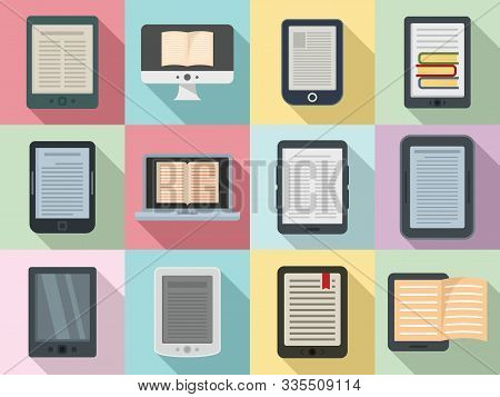 Ebook Icons Set. Flat Set Of Ebook Vector Icons For Web Design