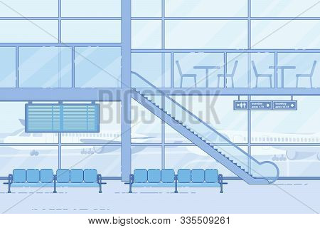Modern Airport Waiting Area, Empty Lounge Zone Flat Vector Background With Comfortable Seats Row, Es