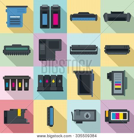Cartridge Icons Set. Flat Set Of Cartridge Vector Icons For Web Design