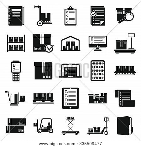 Inventory Warehouse Icons Set. Simple Set Of Inventory Warehouse Vector Icons For Web Design On Whit