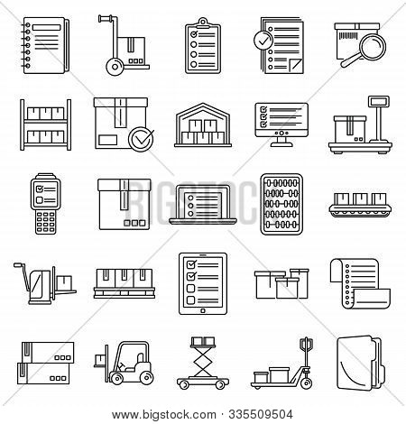 Work Inventory Icons Set. Outline Set Of Work Inventory Vector Icons For Web Design Isolated On Whit