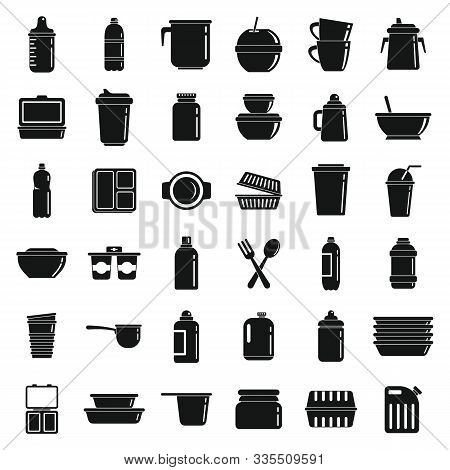 Plastic Tableware Icons Set. Simple Set Of Plastic Tableware Vector Icons For Web Design On White Ba