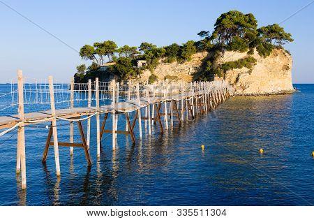 Famous Landmark, Tourist Attraction. Bridge To Agios Sostis In Zakynthos Island, Greece.