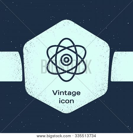 Grunge Line Atom Icon Isolated On Blue Background. Symbol Of Science, Education, Nuclear Physics, Sc