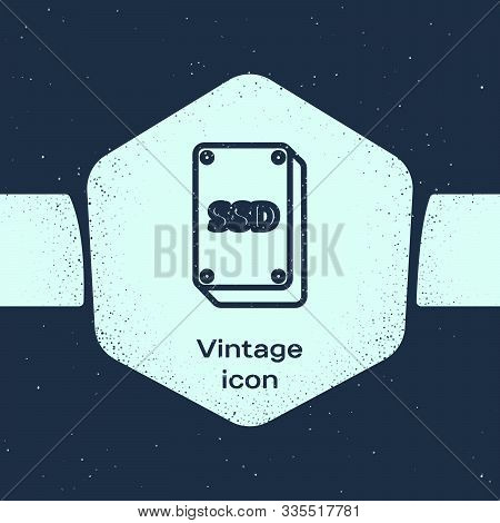 Grunge Line Ssd Card Icon Isolated On Blue Background. Solid State Drive Sign. Storage Disk Symbol.