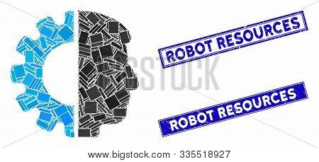 Mosaic Android Head Icon And Rectangular Stamps. Flat Vector Android Head Mosaic Icon Of Random Rota