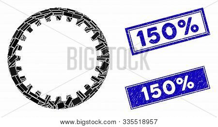 Mosaic Annular Gear Icon And Rectangle Rubber Prints. Flat Vector Annular Gear Mosaic Icon Of Random