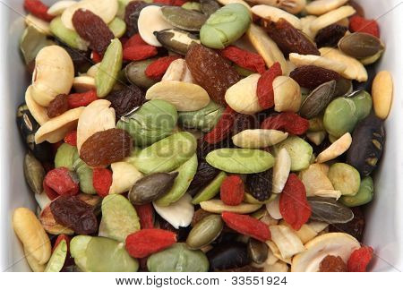 poster of closeup organic mixed nuts and dry fruits