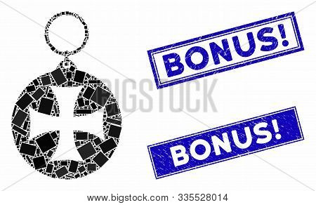Mosaic Maltese Cross Medal Pictogram And Rectangle Seal Stamps. Flat Vector Maltese Cross Medal Mosa
