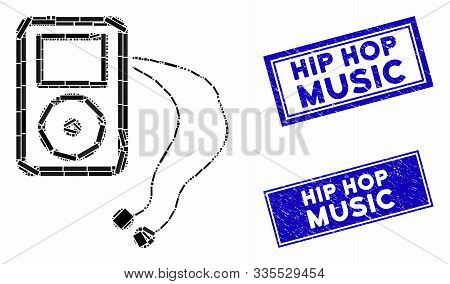Mosaic Mobile Media Player Pictogram And Rectangular Rubber Prints. Flat Vector Mobile Media Player