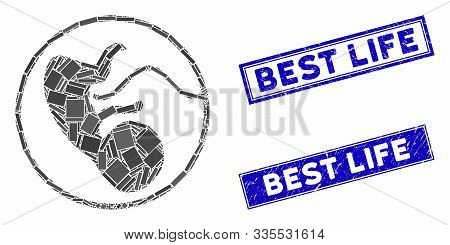 Mosaic Prenatal Pictogram And Rectangle Seal Stamps. Flat Vector Prenatal Mosaic Pictogram Of Random