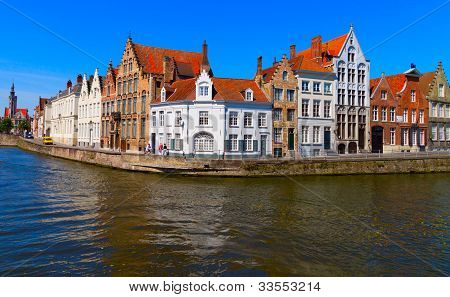canal and houses at Bruges, Belgium