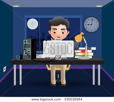 Business Character Overtime Employee Vector Concept. Male Business Character Office Employee Working