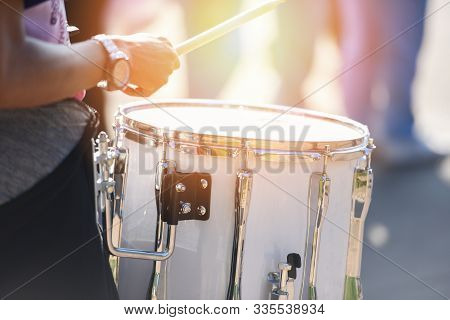 Drummers At A Parade With White Drumming / Playing Drums During A Parade For The Celebrations