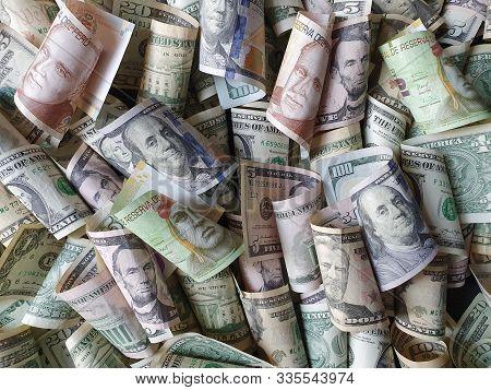 Peruvian Banknotes And American Dollar Bills Unorganized