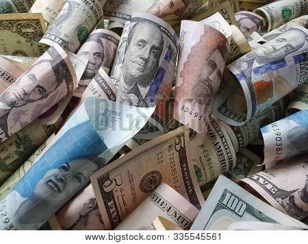 Colombian Banknotes And American Dollar Bills Unorganized