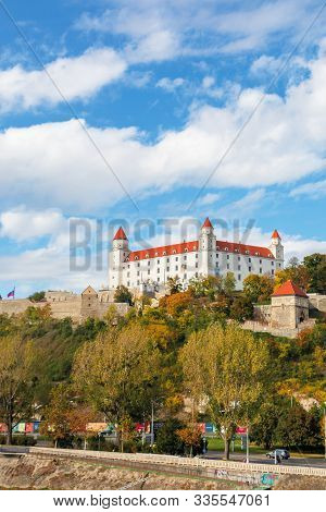 Bratislava, Slovakia - 16 Oct, 2019: Bratislava Castle On The Hill. Beautiful Travel Destination Of