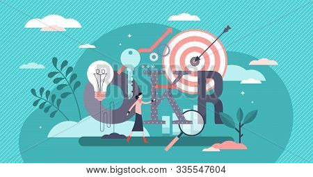 Okr Vector Illustration. Flat Tiny Objectives Key Results Person Concept. Effective Strategy Method