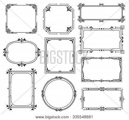 Decorative Ornamental Frames And Borders. Floral Calligraphy Decoration With Vintage Royal Elements