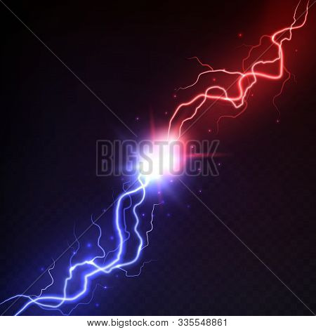 Lightning Collision. Vs Blast Challenge, Versus Mma Battle With Red And Blue Electric Lightning Vect