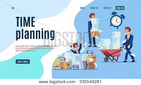 Time Management Landing. Stop Unorganized Work Web Page For Effective Business Vector Organizing Of