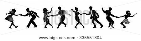 Banner With Four Black Silhouettes Of Dancing Couples On White Background. People In 1940s Or 1950s