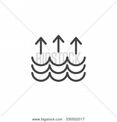 Water Waves And Arrows Up Line Icon. Linear Style Sign For Mobile Concept And Web Design. Water Cycl